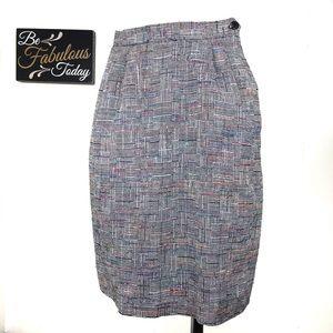 Vintage 80s Glen Plaid Pencil Skirt Size 6